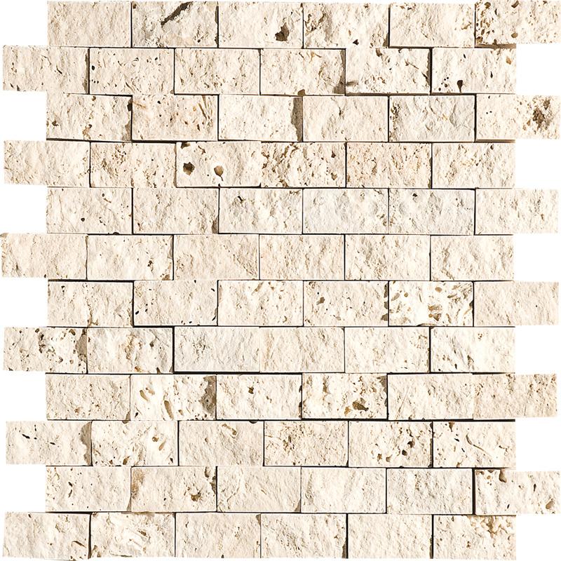 Ivory Rock Face 30x31 1x2 Traverten Mozaik Ms00601s