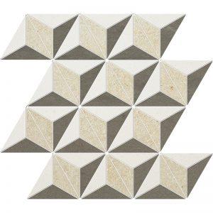Champagne, Seashell, Bosphorus Honed 39X35 Diamond 3D Mozaik